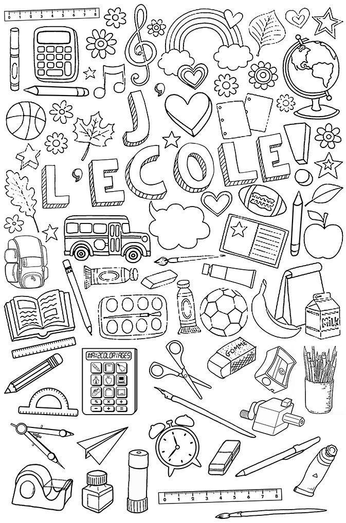 Affaires D'École À Colorier | Coloriage Rentree Des dedans Matériel De Coloriage