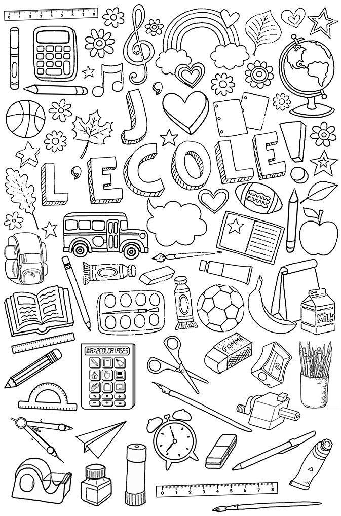 Affaires D'École À Colorier. Fun Bellwork For Day 1 In serapportantà Dessin Matériel Scolaire