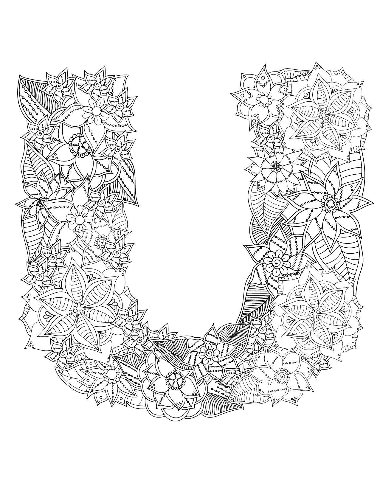Affiche Alphabet A Imprimer Lettre U Coloriage Très pour Coloriage De Mandala Difficile A Imprimer