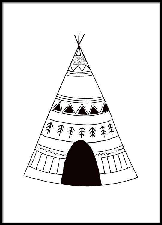Affiche Pour Enfant Avec Tente, Noir Et Blanc encequiconcerne Tipi Dessin