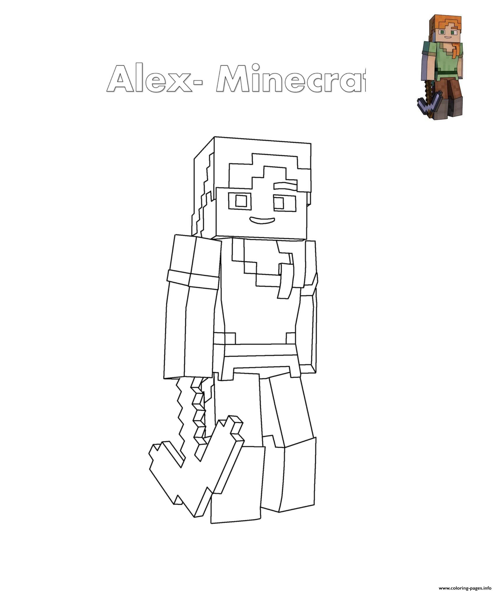 Alex Minecraft Coloring Pages Printable pour Coloriage Minecraft