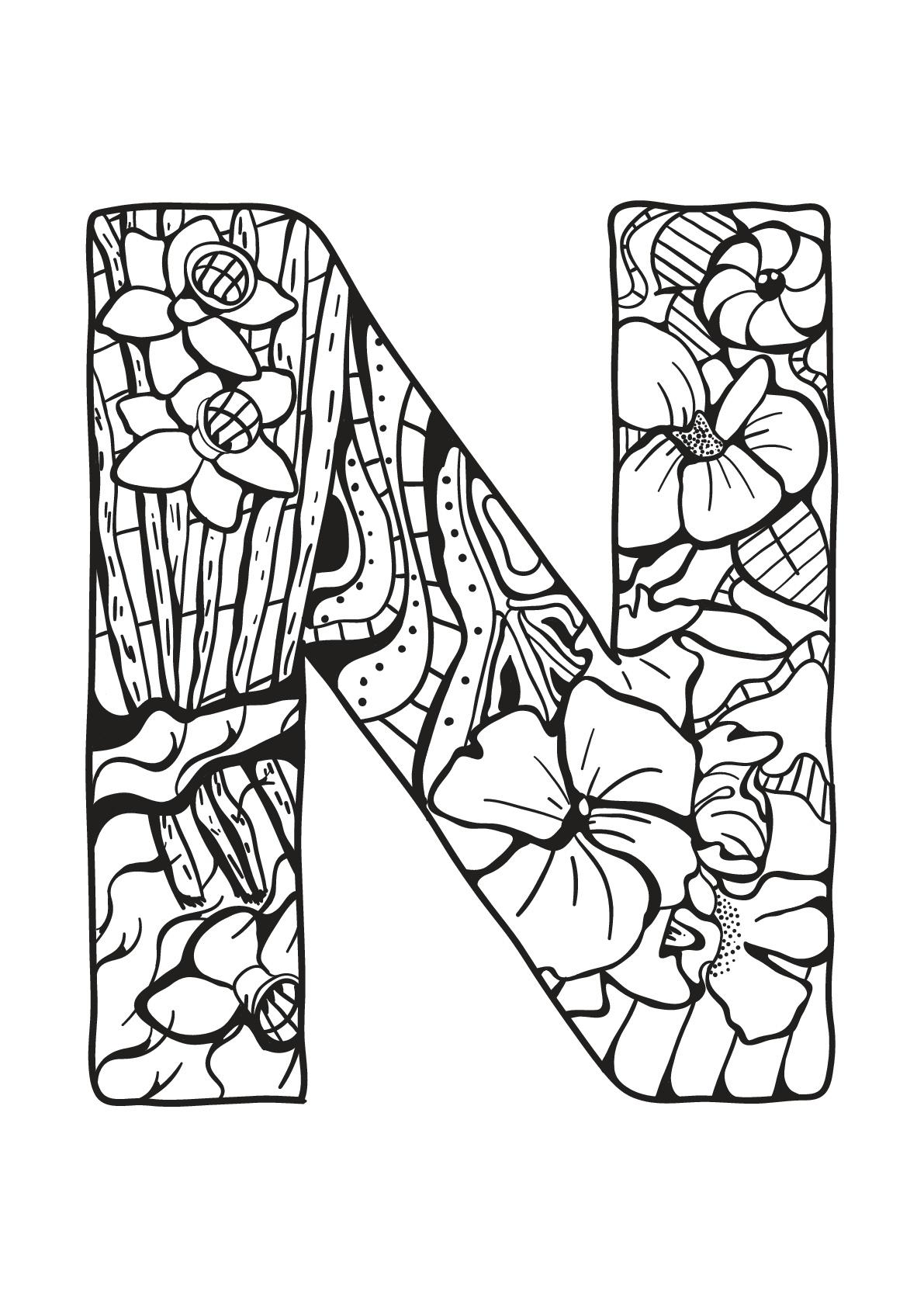 Alphabet Lettre N - Coloriages Alphabet Et Lettres tout Coloriage Alphabet Complet A Imprimer