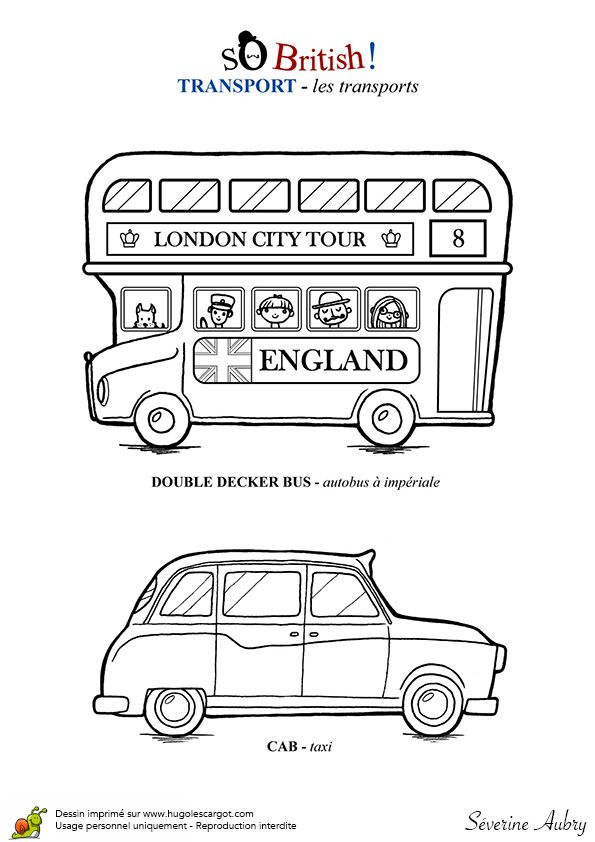 Angleterre Transports Londoniens | Apprendre L'Anglais tout Coloriage Angleterre