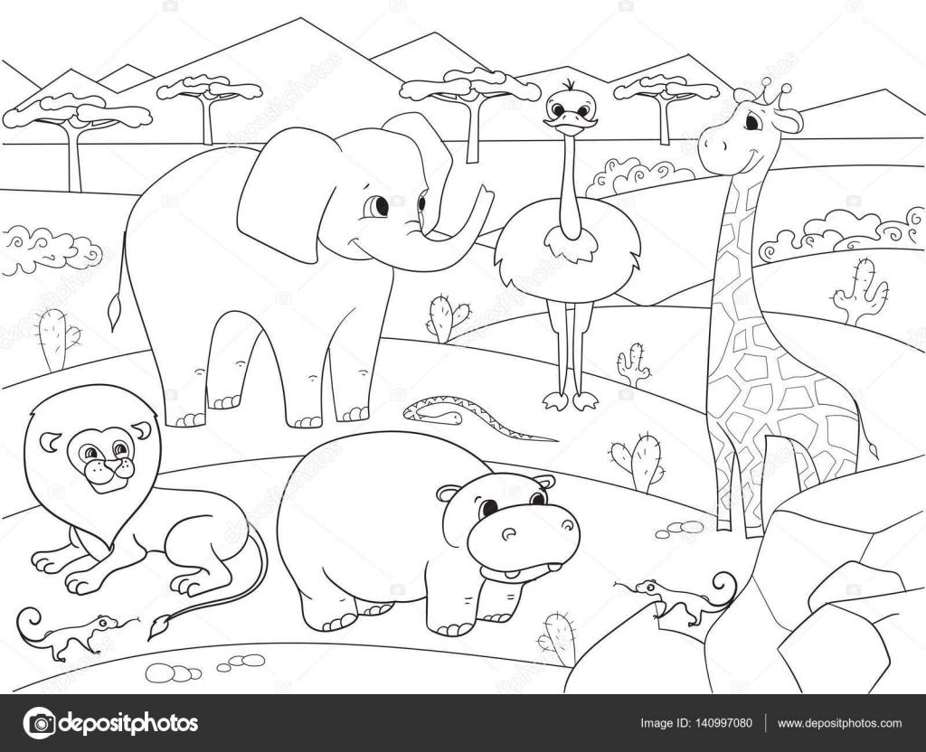 Animaux De La Savane D'afrique Vector À Colorier Pour Les avec Coloriage Animaux De La Savane