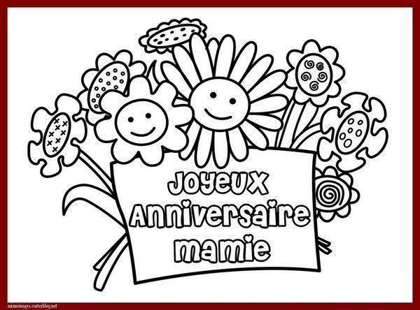 Anniversaire : Coloriage Joyeux Anniversaire Mamie serapportantà Dessin Anniversaire Maman