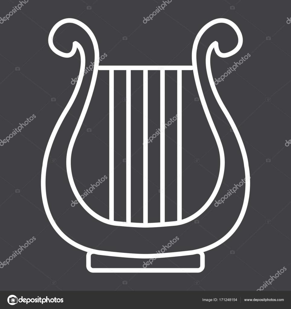 Antike Griechische Lyra Liniensymbol, Musik Und Instrument destiné Dessin Harpe