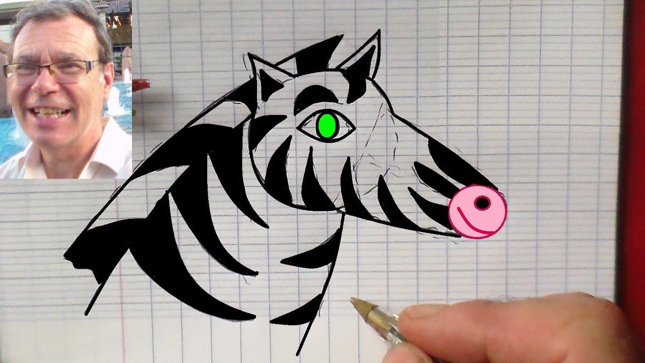 Apprendre À Dessiner Des Animaux : Dessin D'un Zèbre - intérieur Dessin Coloriage