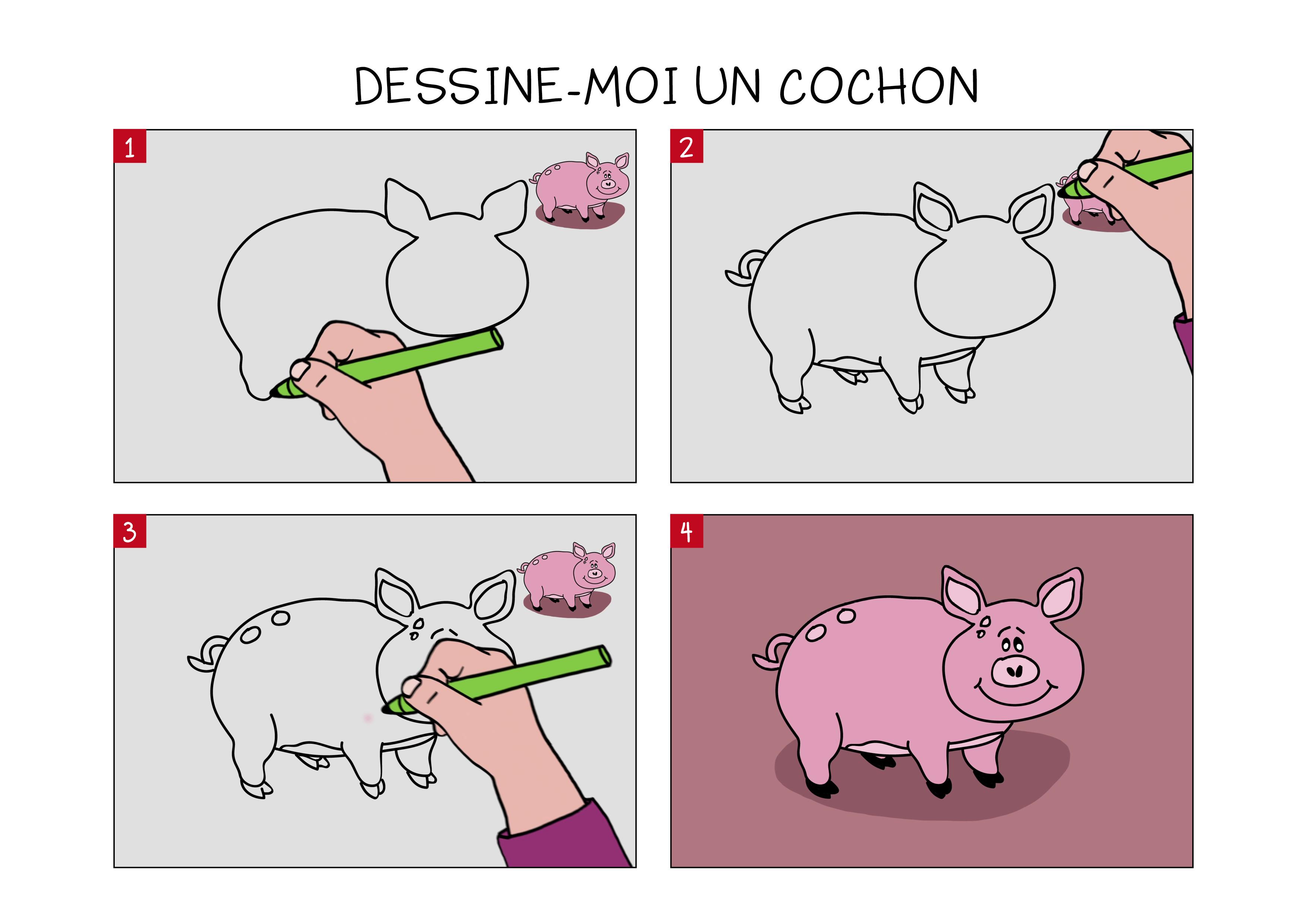 Apprendre À Dessiner Un Cochon En 3 Étapes destiné Dessin Des 3 Petit Cochon