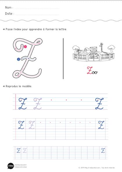Apprendre À Écrire La Lettre Z Majuscule Cursive | Fiche D serapportantà T Majuscule Cursive