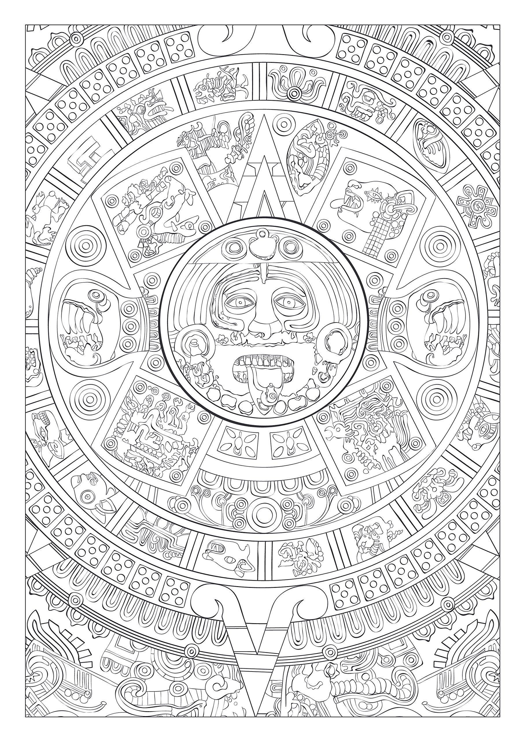 Art Therapie Mayas Et Aztèques 100 Coloriages Anti Stress concernant Coloriage Art Thérapie