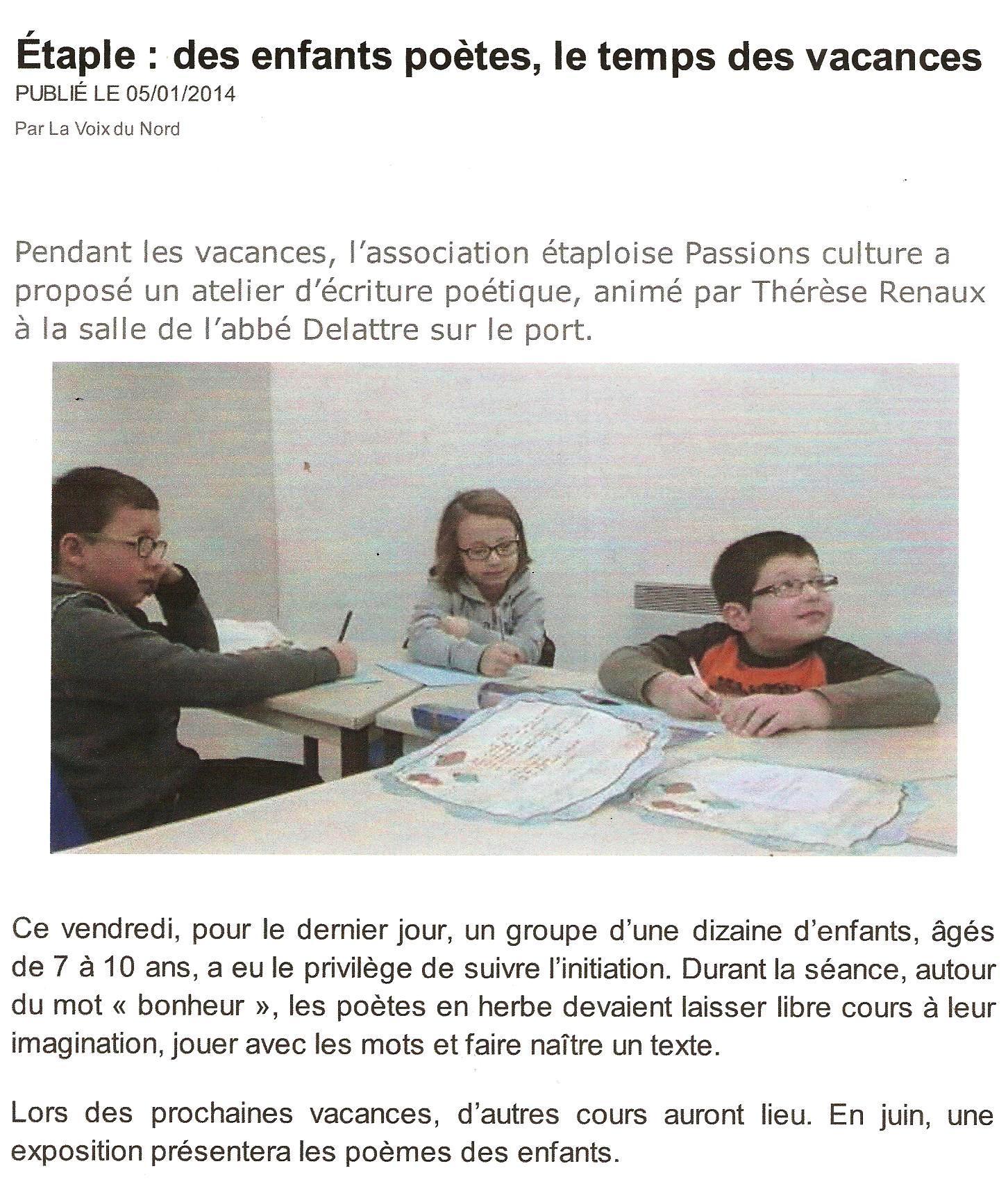 Atelier Poésie Vacances 03 2014 Article V D Nord encequiconcerne Po?Sie Vive Les Vacances