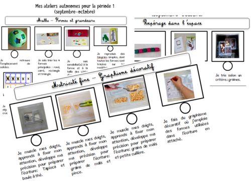Ateliers Autonomes Gs Période 1 2018-2019 | Ateliers encequiconcerne Plan De Travail Album De Rentr?E Gs