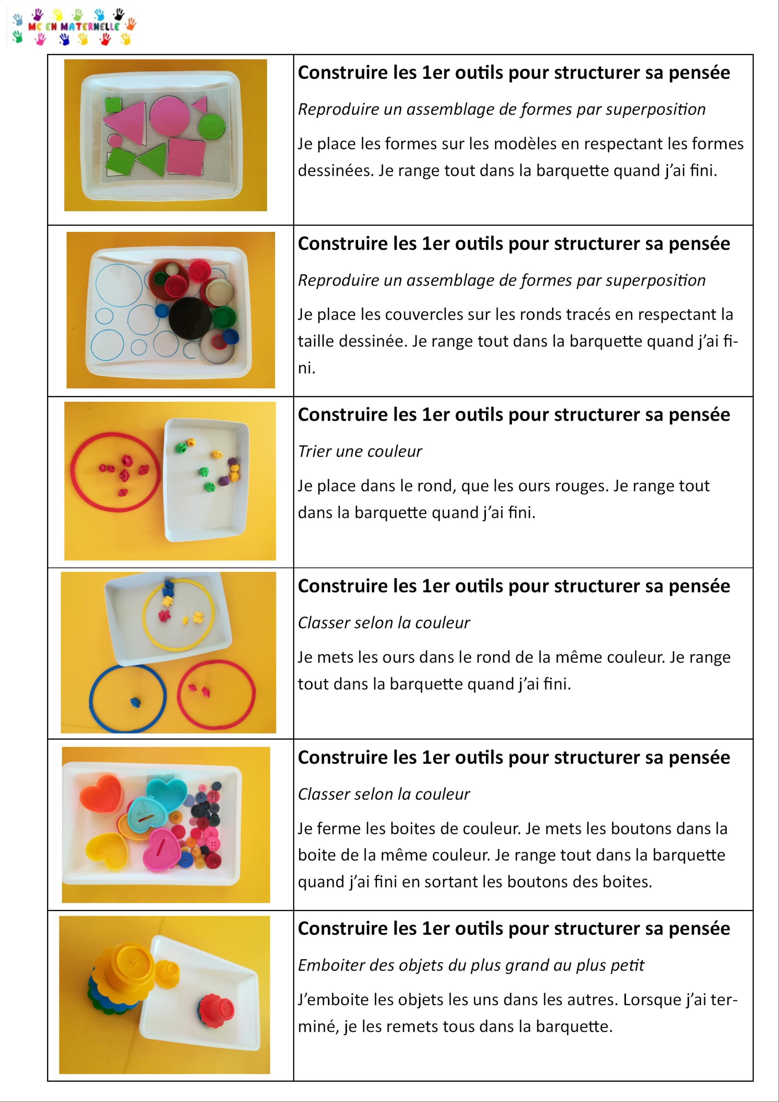 Ateliers Autonomes Période 1 Pour Les Petites Sections (Ps avec Mc En Maternelle