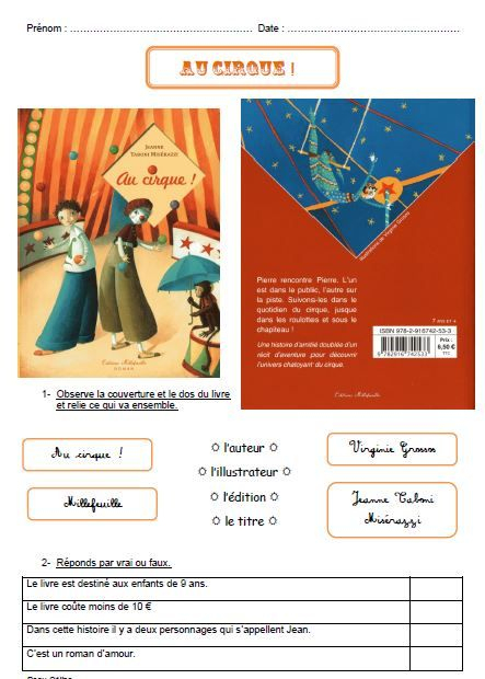 Au Cirque ! - Lecture Suivie | Lecture Suivie Ce1, Lecture serapportantà Lecture Suivie Petit Ogre Veut Apprendre ? Lire