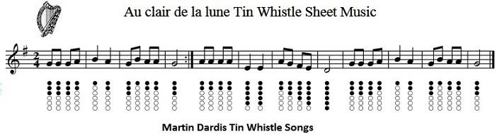 Au Clair De La Lune And Fais Do Do Tin Whistle Sheet Music à Lyrics Oh Clair De La Lune