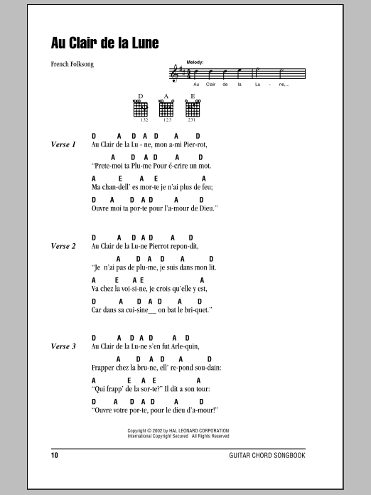 Au Clair De La Lune By French Folksong Guitar Chords pour Lyrics Au Clair De La Lune