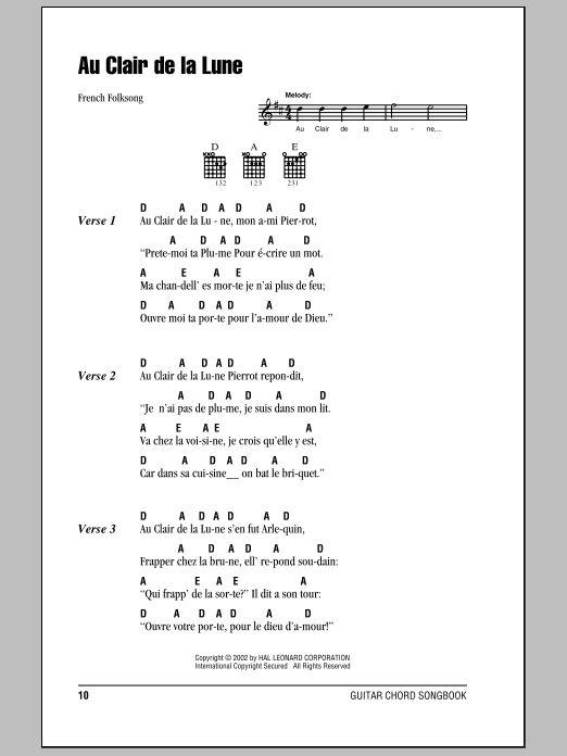 Au Clair De La Lune By French Folksong Guitar Chords tout Au Clair De La Lune Lyrics Hiro