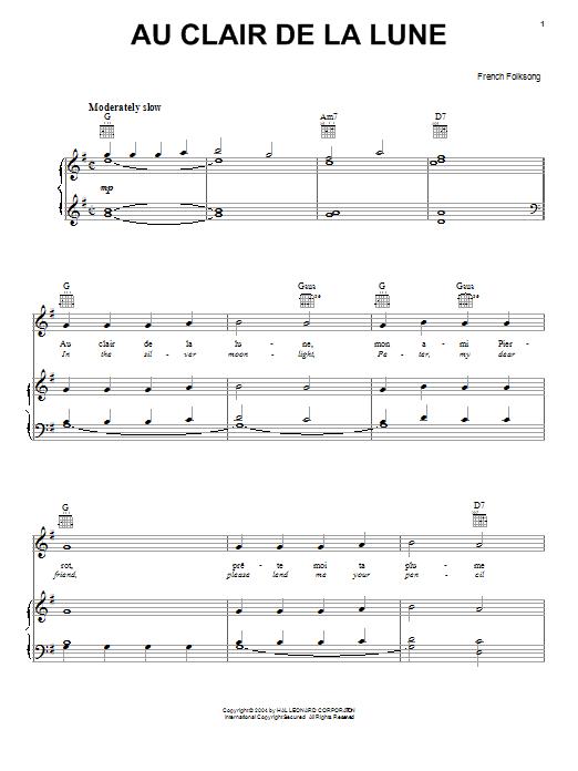 Au Clair De La Lune Partition Par French Folksong (Piano avec Au Clair De La Lune Paroles