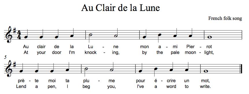 Bag Songs - Technologi Rmation encequiconcerne Au Clair De La Lune Lyrics Hiro