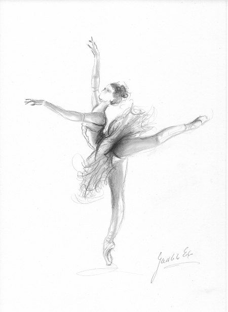 Ballerina. Art Print Of Original Graphite Pencil Drawing à Dessin Danseuse Classique
