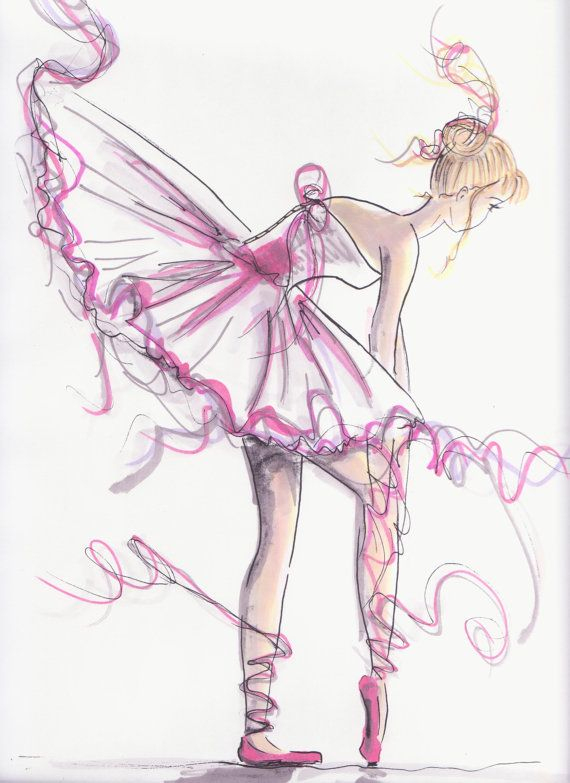 Ballerina Untied In Pink | Ballet Art, Dancing Drawings destiné Dessin Animé Danseuse
