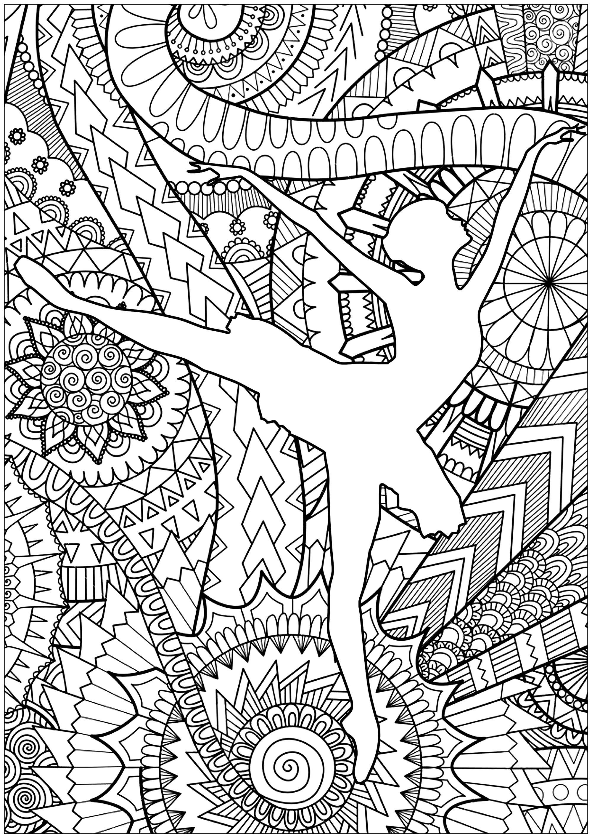 Ballet Dancer - Anti Stress Adult Coloring Pages intérieur Coloriage Zen