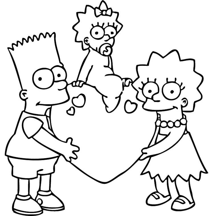 Bart, Lisa Et Maggie Simpson Sur Un Coeur encequiconcerne Coloriage Simpson A Imprimer Gratuit