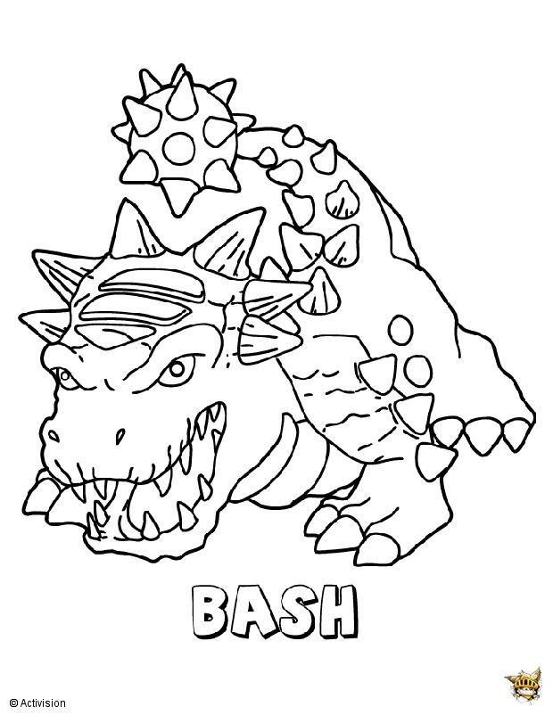 Bash Est Un Coloriage De Skylanders à Coloriage Skylanders À Imprimer