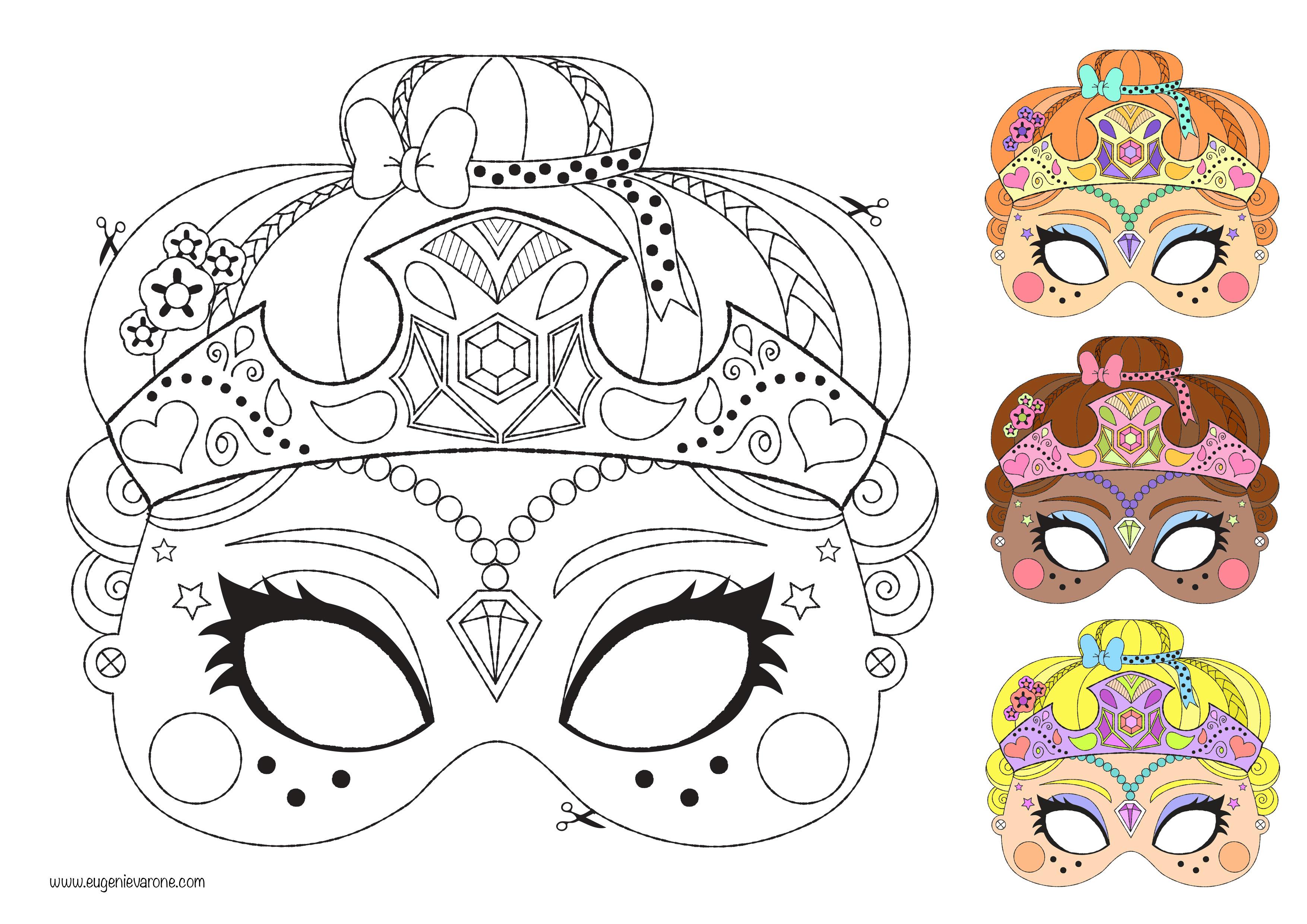 Belle Coloriage Masque De Princesse | Imprimer Et Obtenir serapportantà Masque À Colorier Gratuit