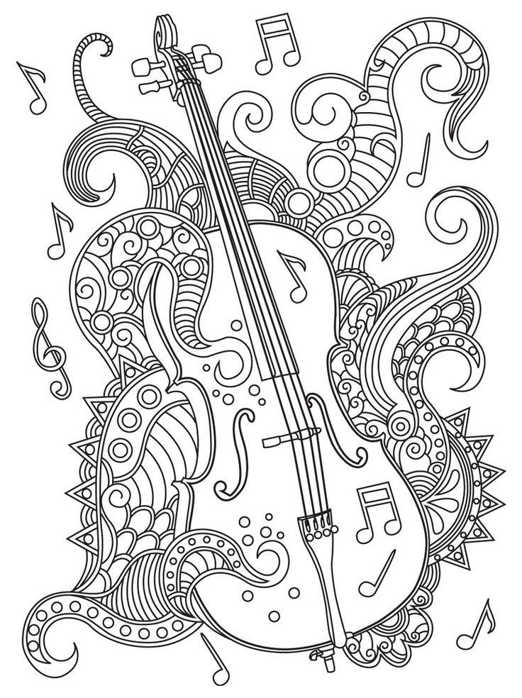 Best 330 Music Coloring Pages For Adults Ideas On pour Coloriage Instrument De Musique