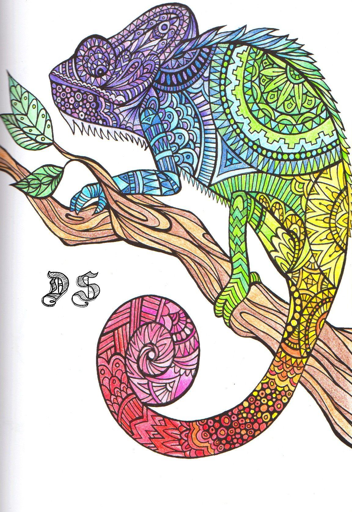 Bestiare - Art Thérapie Caméléon | Printable Adult encequiconcerne Coloriage Therapie