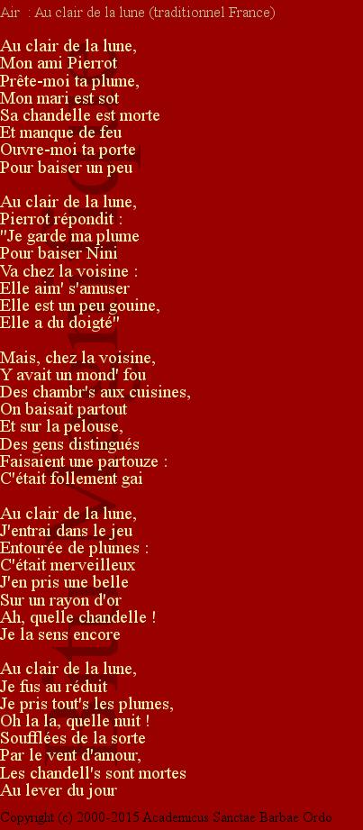 Bitu | Chants serapportantà Au Clair De La Lune Paroles