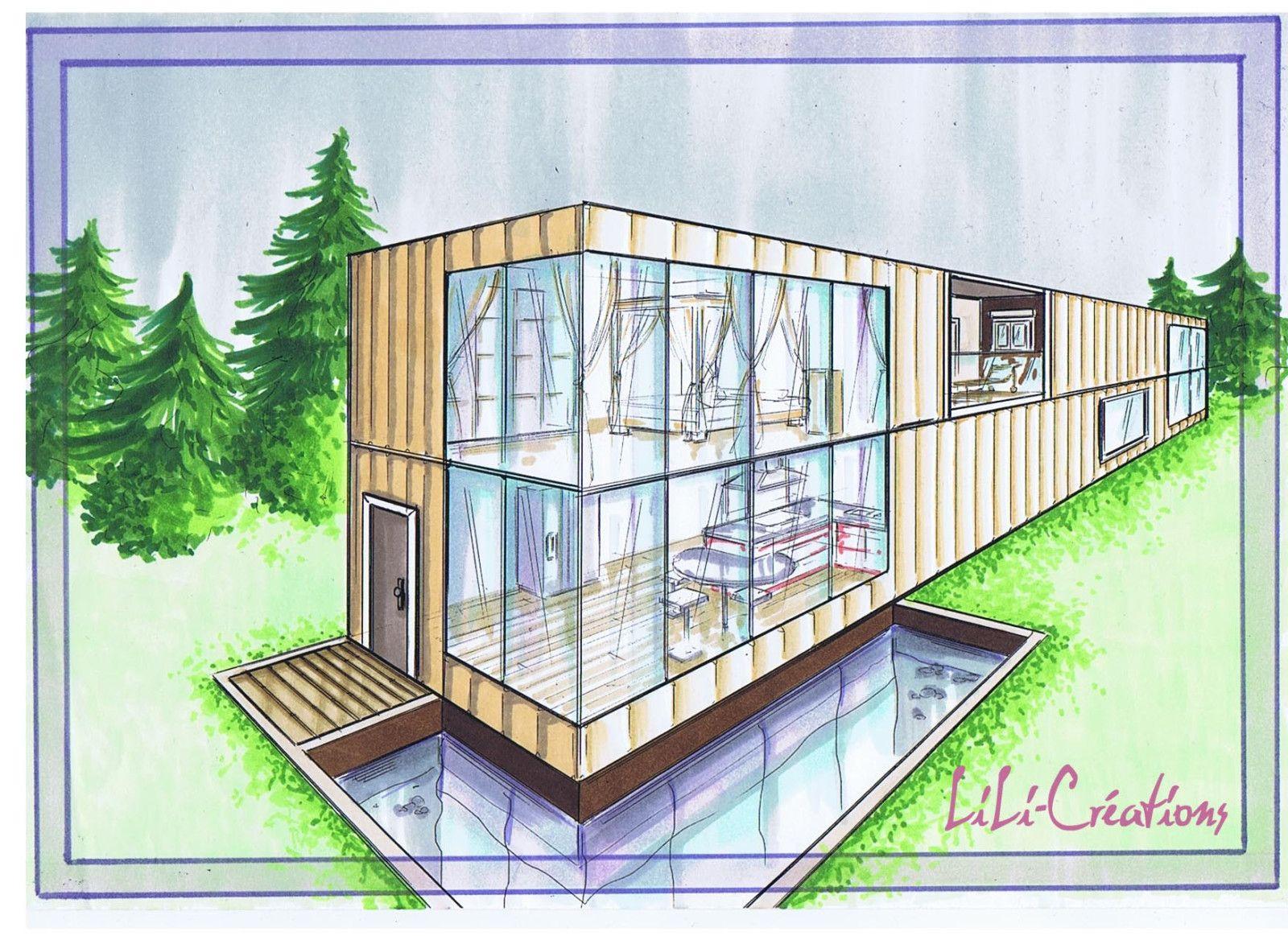 Blog Elise Fossoux - | Shipping Containers | Maison serapportantà Dessin De Maison Moderne