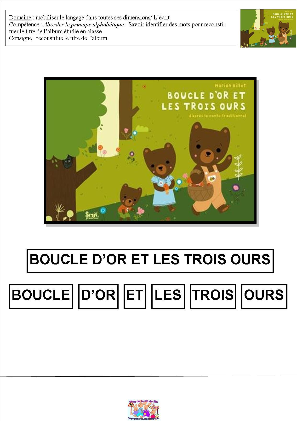 Boucle D'or Et Les 3 Ours – Mc En Maternelle concernant Mc En Maternelle