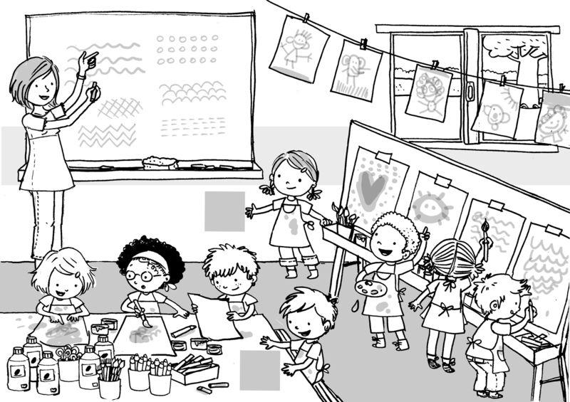 Burbuja De Lenguaje: Imágenes Para Hablar: El Colegio dedans Coloriage D Une École