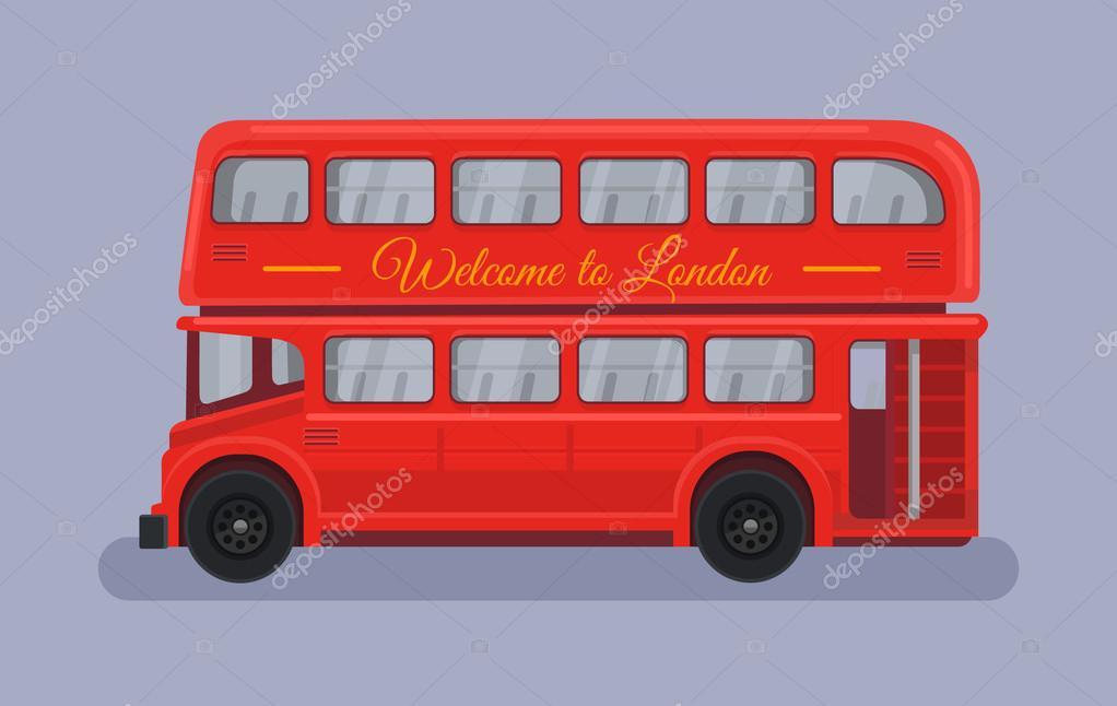 Bus Rouge Avec La Ville De London — Image Vectorielle intérieur Dessin Bus Anglais