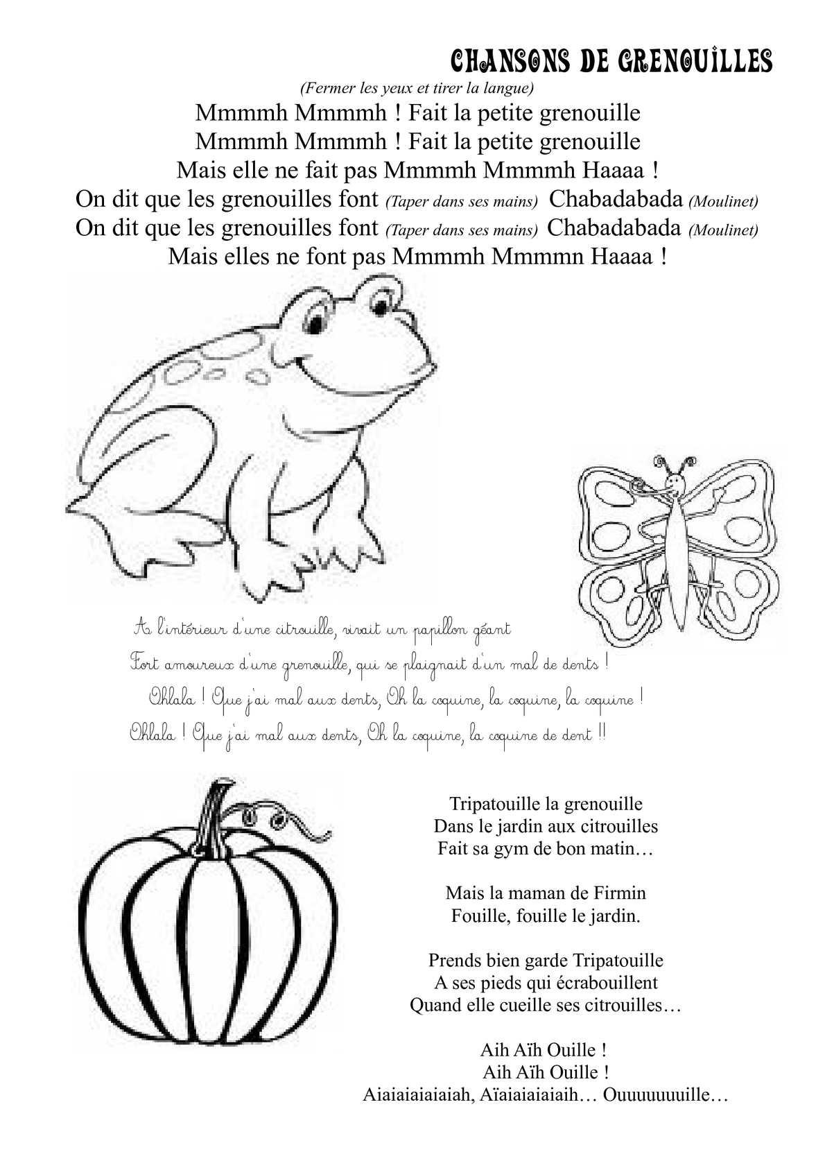 Calaméo - Chansons De Grenouilles encequiconcerne Chanson De La Petite Patate