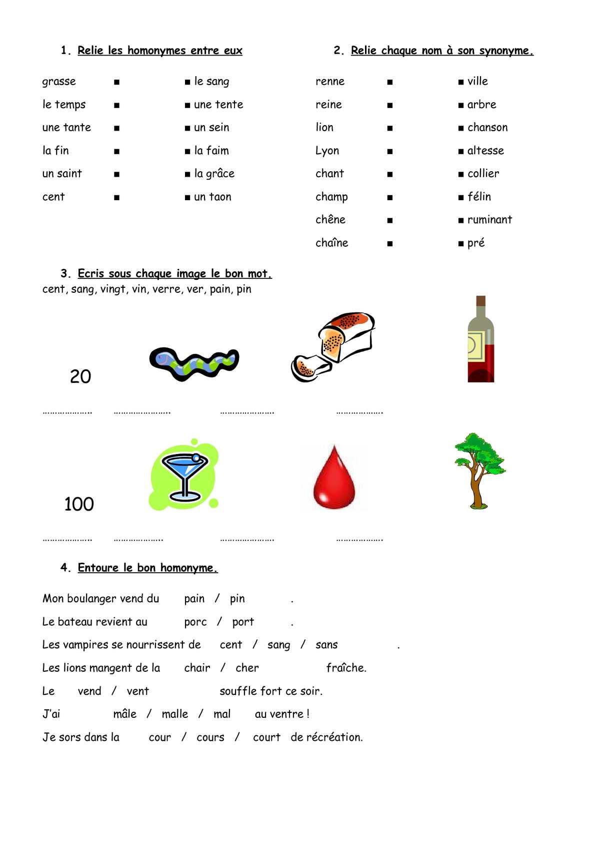 Calaméo - Cycle 2 / 3 : Vocabulaire : Homonymes (Exercices tout Structurer Le Vocabulaire Cycle 2