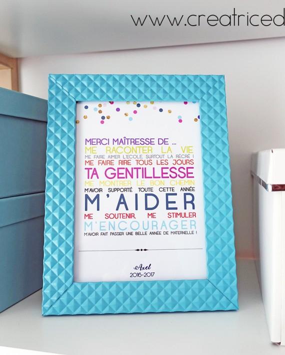 Camille 2 Z'Ailes E   Cadeau Cadre Merci Maîtresse intérieur Et Un Cadeau Precieux