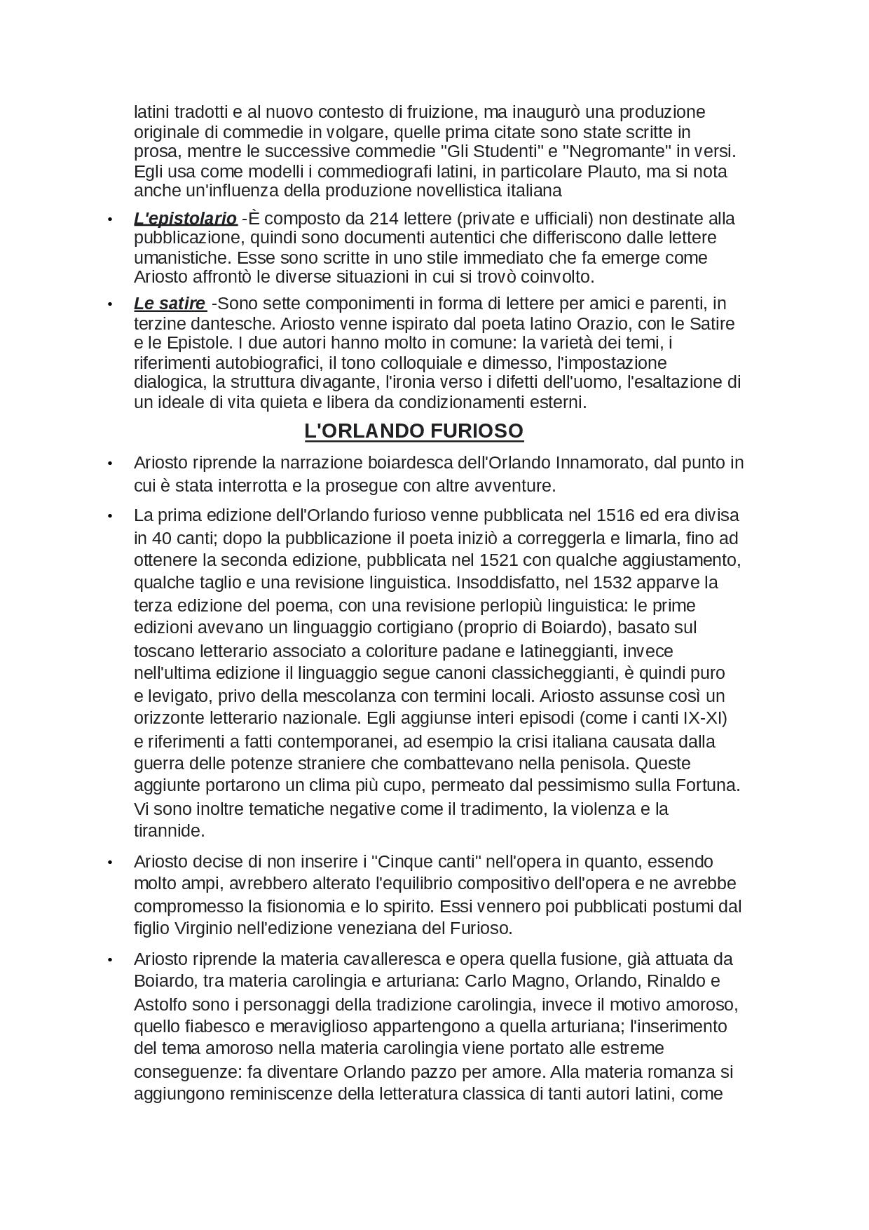 Caratteri Generali Di Ariosto E Le Sue Opere - Docsity encequiconcerne Docsity