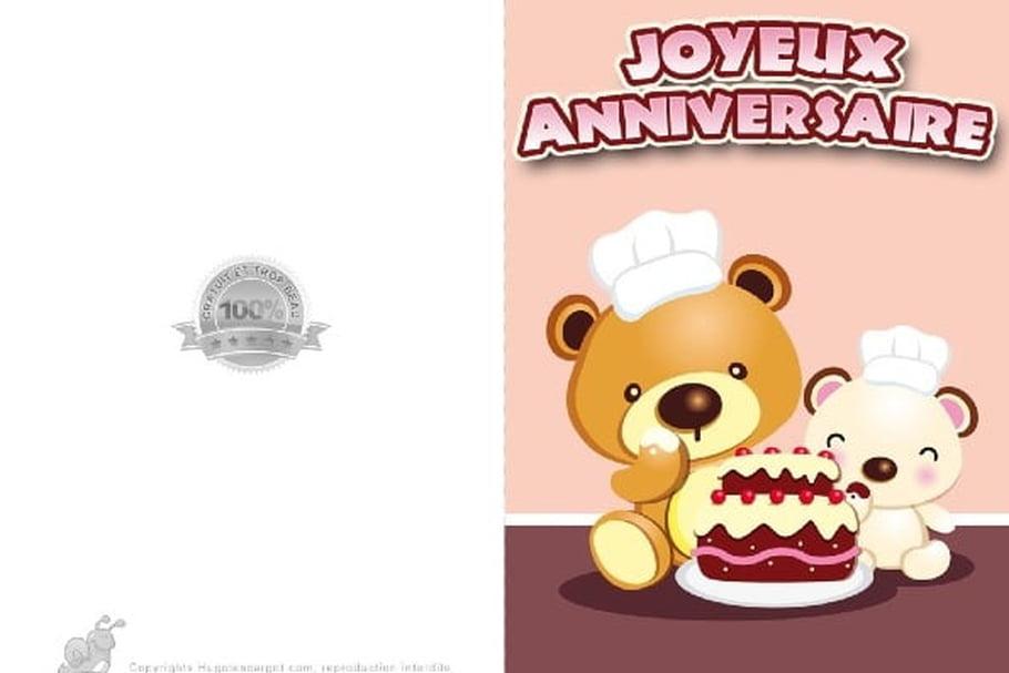 Carte Anniversaire Oursons Et Gâteau tout Gateau D Anniversaire À Imprimer
