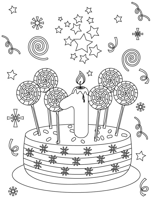 Carte D'Anniversaire 1 An - Dory.fr Coloriages dedans Gateau D Anniversaire À Imprimer