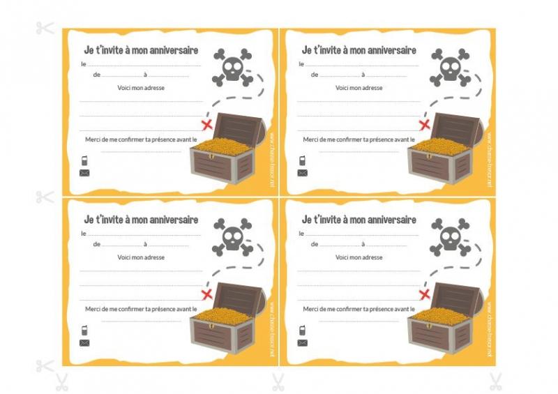 Carte D'Invitation Anniversaire Chasse Au Trésor - Jlfavero dedans Chasse Au Tr?Sor Gratuite Pdf