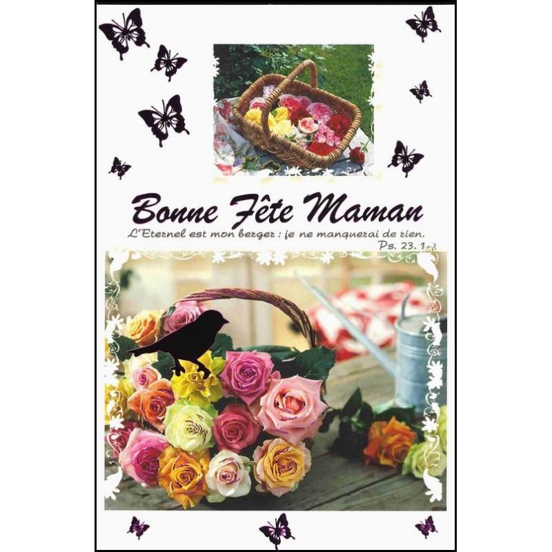 Carte Double Bonne Fête Maman - Panier De Fleurs - Ps 23.1 pour Bonne Fete Des Pairs Figure