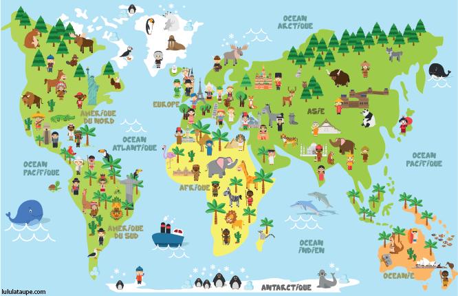 Carte Du Monde À Imprimer, Les Cinq Continents Avec Les serapportantà Dessin De Tout Les Animaux Du Monde