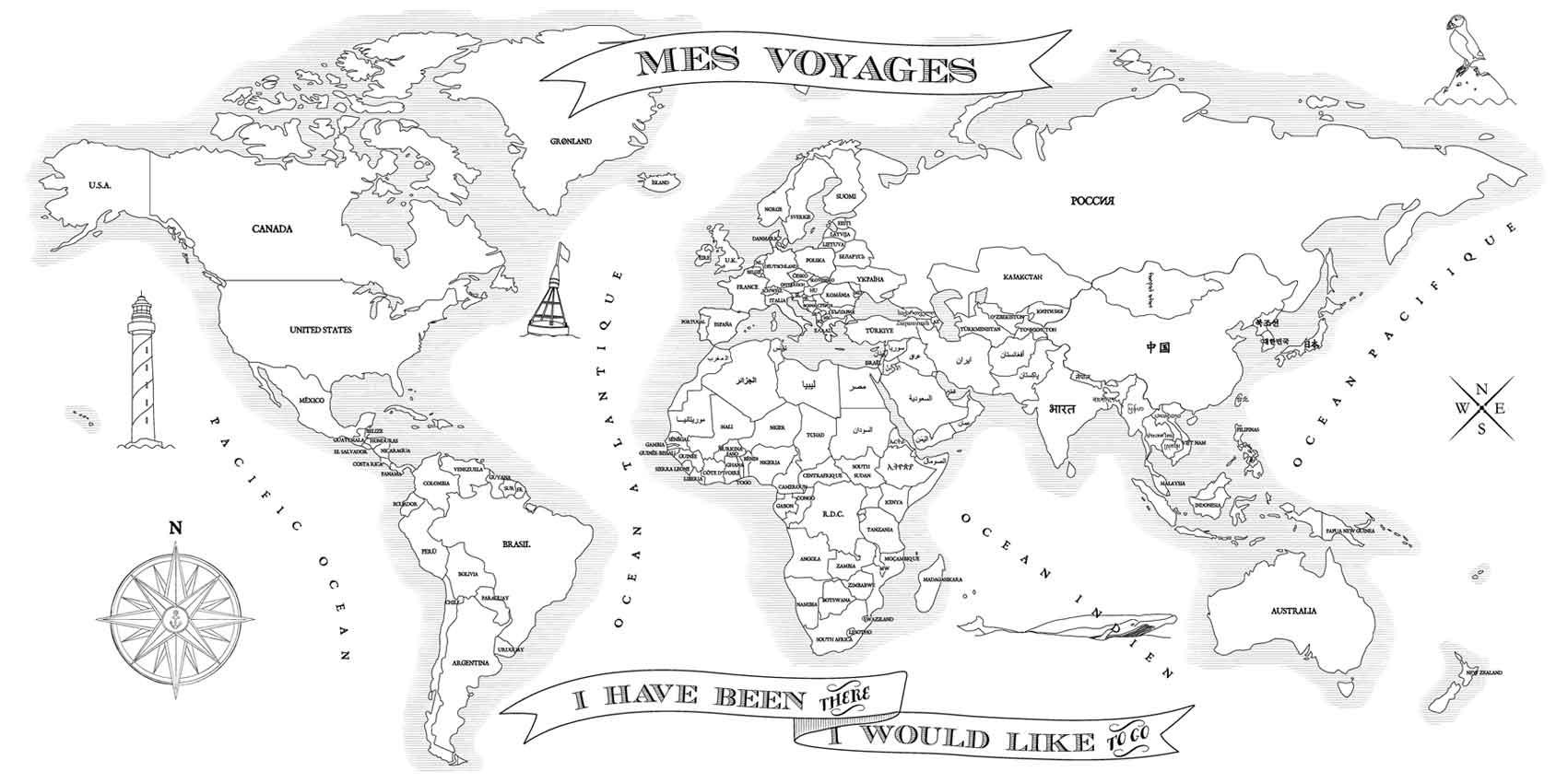 Carte Du Monde Coloriage - Infini Photo avec Mappemonde ? Imprimer