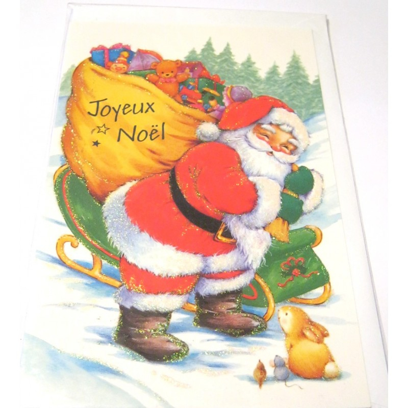 Carte Postale Neuve + Enveloppe Fêtes Joyeux Noël Sapin avec Enveloppe Pere Noel