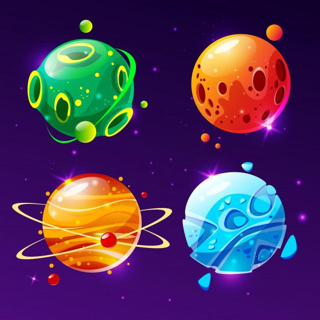Cartoon Fantastic Planet, Worlds Asteroid Set. Cosmic serapportantà Dessin Uranus