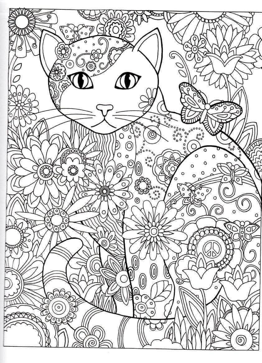 Cat Abstract Doodle Zentangle Coloring Pages Colouring encequiconcerne Coloriage Numéroté Adulte Gratuit