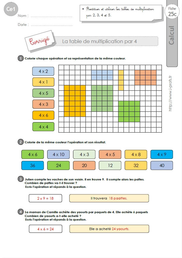Ce1-Cycle2 Exercices Corriges: Les Tables De Multiplication encequiconcerne Exercice Table De Multiplication A Imprimer Gratuitement